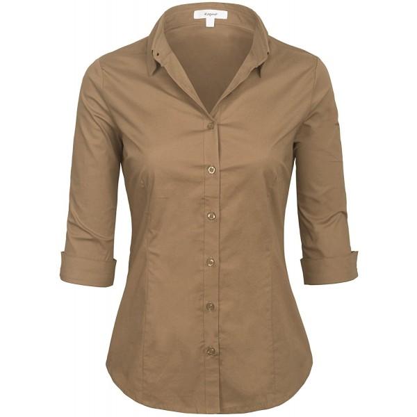 9b4eb9fe73 Womens Classic Solid 3 4 Sleeve Button Down Blouse Dress Shirt (S-3X ...