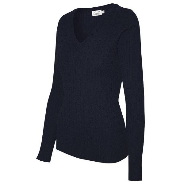 Womens Stretch V neck Pullover Sweater