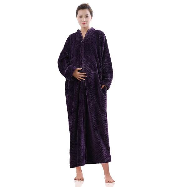 Womens Fleece Robe Plush Long Zip-Front Bathrobe With Pockets ... 572c2cedb