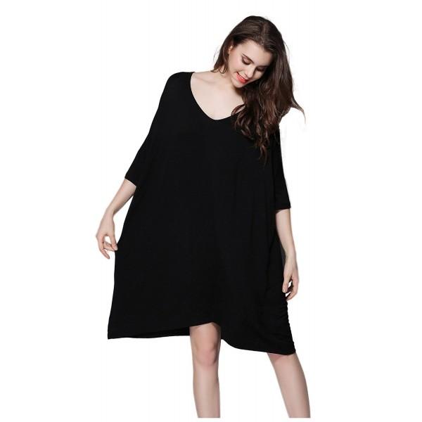 Women T-Shirt Dress Scoop Neck Dress Plus Size Loose Sleepwear Half Sleeve  Nightwear - Black - CC1853GAW4M