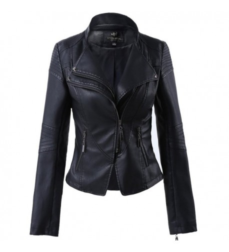 Womens Leather Stand up Collar Jacket