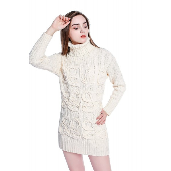 Women Christmas Sweater Dress.Women S Christmas Mandarin Collar Cable Knit Turtleneck Long Pullover Sweater Dress White Cr188un9x75