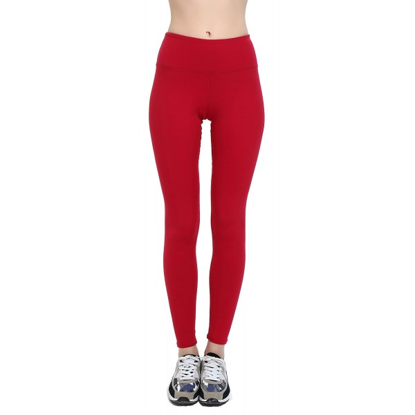 43f256a4566518 ... Women's Solid Opaque Nylon Spandex Stretch Workout Yoga Pants - Red -  C012O6IERM2. Women Stretchy Length Spandex Athletic