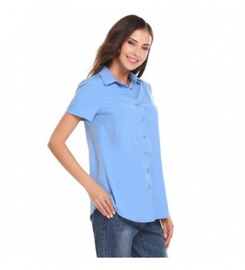 1fe2fe5e58 Women Short Sleeve Button-Down Shirt Basic Casual Tailored Blouse ...