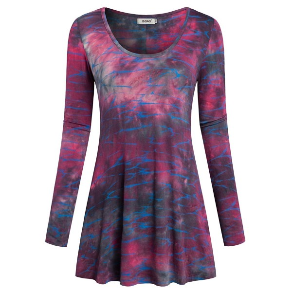e64ecd19473 Womens Tie Dye Tunic Blouses Long Sleeves Pleated Casual Tops ...