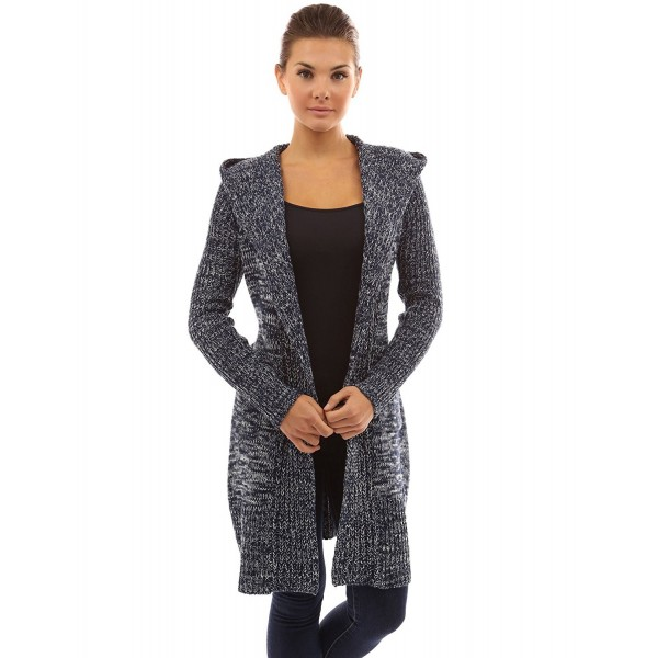 d47f21856b Women s Hooded Pockets Knit Open Cardigan - Navy Blue and White ...