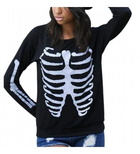 Sumtory Sweatshirt Halloween Skeleton Pullover