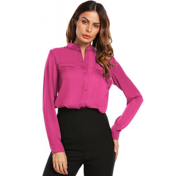 0702a5daf9cf10 Women Long Sleeve V Neck Chiffon Blouse Wear To Work On Down. Elesol Womens  ...