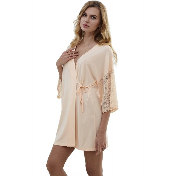 ... Women s Pure Colour Short Satin Kimono Robes With Oblique V-Neck -  Apricot - CK180Q823R4. MANYC Womens Colour Oblique Apricot b7eee3160