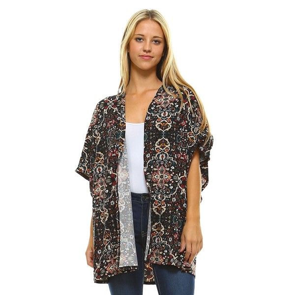 7533dbecfb ... Womens Open Front Short Sleeve Printed Cardigan Sweater Made In USA -  Bk6162 Olive - C217Z6RGQGW. Frumos Womens Cardigan Sleeve BK6162