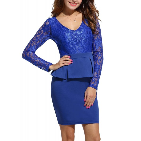 ANGVNS Womens Peplum V Neck Above