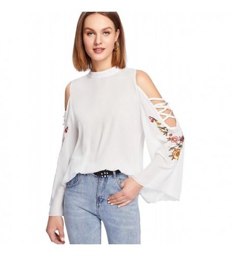 Milumia Womens Shoulder Embroidery Crisscross