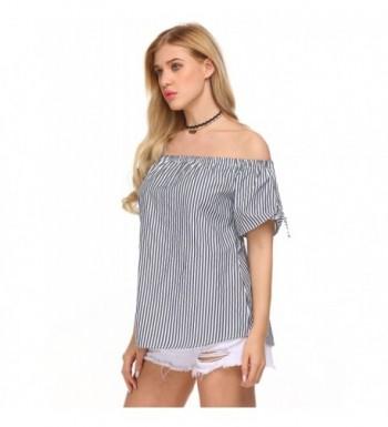 921db6039ce73 Finejo Blouse Striped Shoulder Elegant  Designer Women s Blouses Outlet   Women s Button-Down Shirts  Discount Women s Clothing Outlet Online