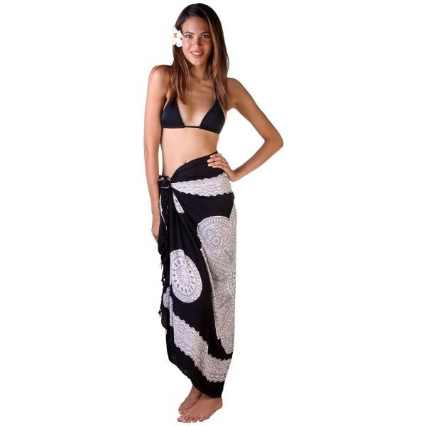 db93c76f29 ... Womens Sarong Swimsuit Beach Cover Up Mandala Design Sequins Clip -  Black - CY11DCSCCJV. Back From Bali SARONG PADMA SEQUIN BLACK Mandala