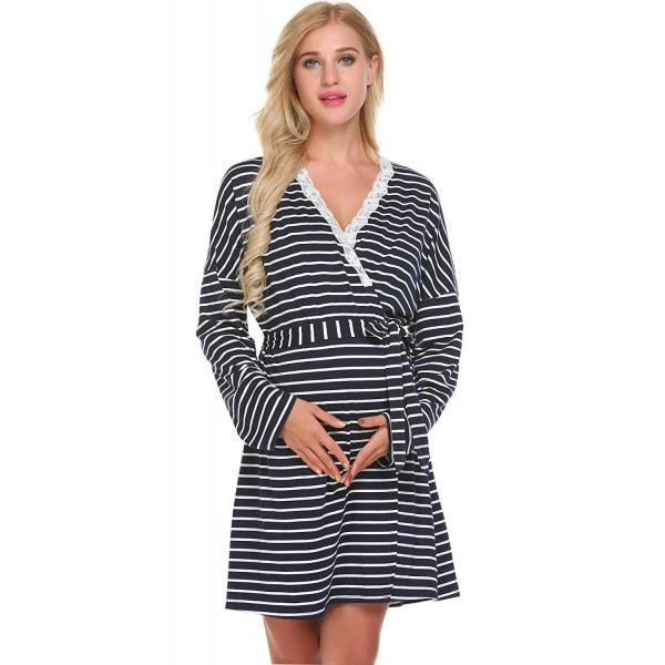 979c075c46944 Maternity Pregnant Robe Women Long Sleeve Striped Breastfeeding Gown ...