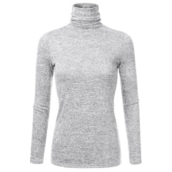 ab1e2a348ec6a3 Marled Turtleneck Knit Sweater For Women With Plus Size (Made In USA ...