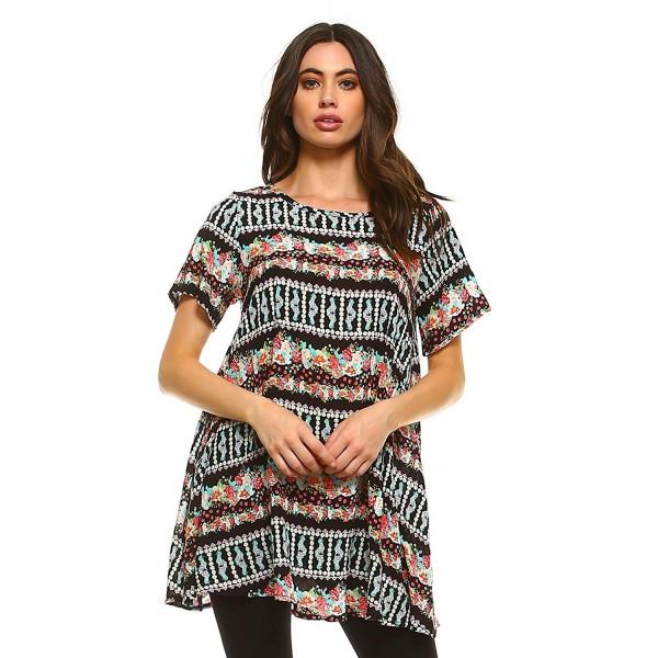 747b1a3515d ... Tunics · Womens Short Sleeve Comfy Print Tunic Top Made In USA - Rose  Original - CD1836GG7ZK. Frumos Womens Tunic Sleeve Original