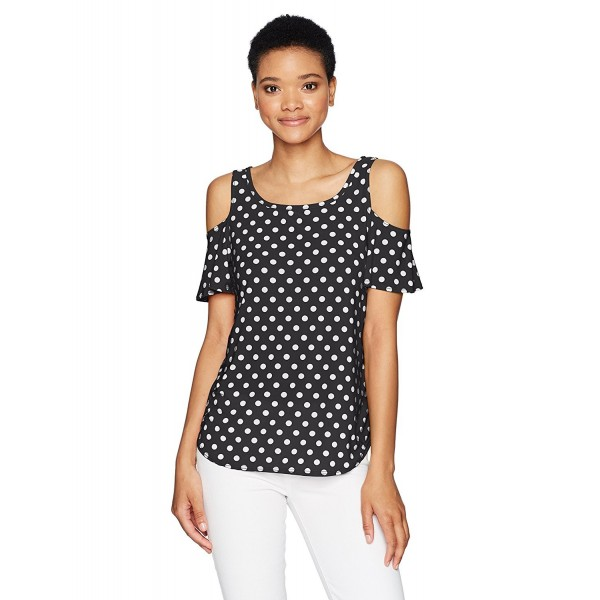 42aadd260c829 Women s Short Sleeve Keyhole Back Cold Shoulder Top - Black Dot ...