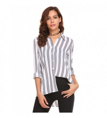 Mofavor Womens Sleeve Striped Button