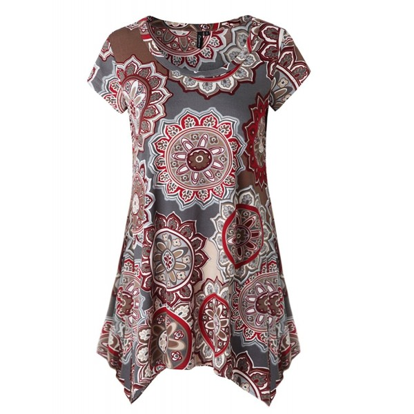 9736e7a224e69 Womens Short Sleeve Flare Tunic Tops Loose Fit Print Summer Tunic ...