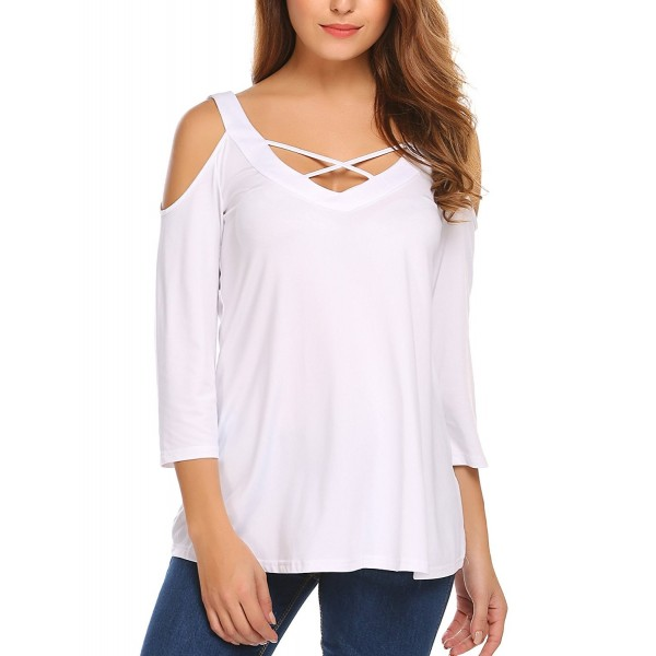 67b51e0c2 Women's Sexy Crisscross V Neck Cold Shoulder Tops Lace Up Tunic Long Sleeve  Blouse Shirt Top - White - C81868MOEW5