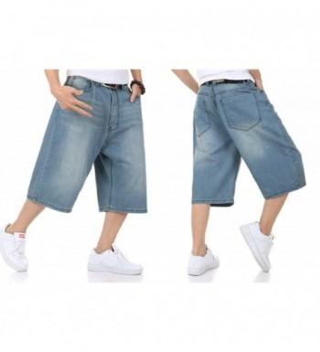 Mens Shorts Jeans Denim Shorts Relaxed Fit Light Wash Blue Plus Size 30-46W 13L