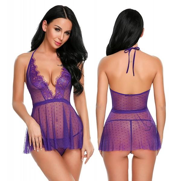 ea1e3e2c016 Women Deep V Halter Lingerie Lace Babydoll Mesh Chemise Sleepwear ...
