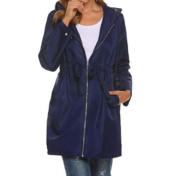 0419a81893b Women Lightweight Long Rain Jacket Outdoor Hooded Windbreaker Trench ...