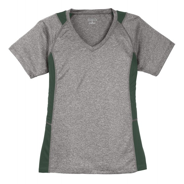 Womens Colorblock V Neck Workout Forest