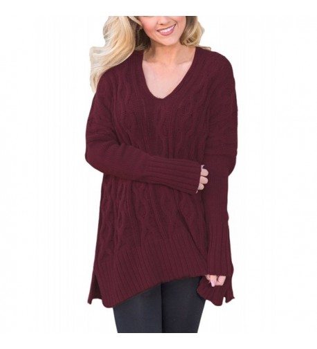 SheShy Knitted Sweater Pullovers Burgundy