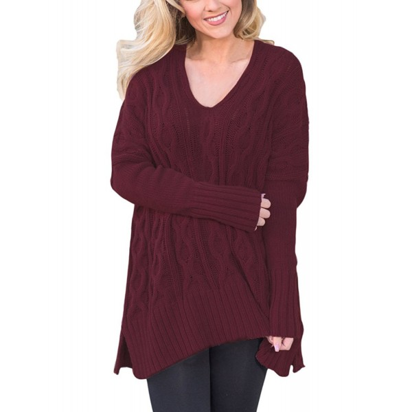 e63cb91ae7 Women s Loose Knitted Sweater Sexy V Neck Long Sleeve Pullovers Tops ...