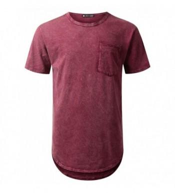 URBANTOPS Hipster Longline T shirt BURGUNDY