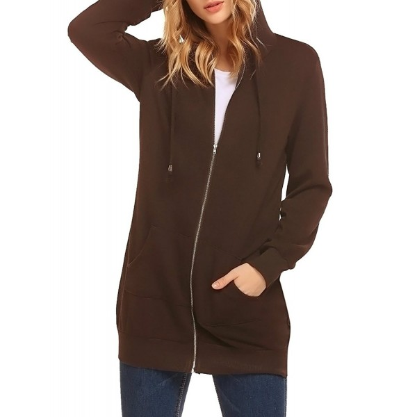 ff2c330cd59 Women's Casual Zip Up Fleece Hoodies Pockets Tunic Sweatshirt Long ...