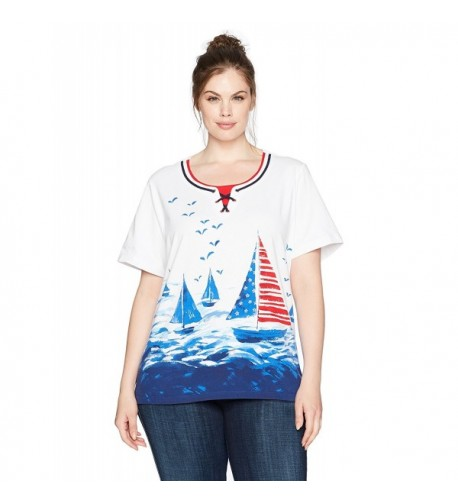 Alfred Dunner Womens Scenic Sailboat
