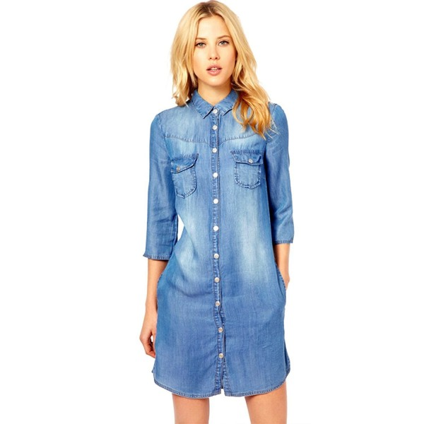 8e9bfe9394 Women`s Denim Dress Chambray Casual Button-Down Shirts Blosue With ...