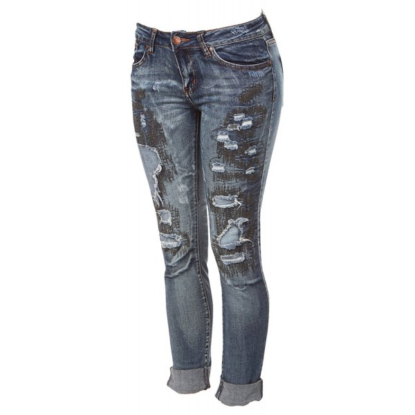 b8e80c3e48ab7 Ripped Distressed Patched Skinny Stretch Jeans For Women Bottom Cuff Low  Waisted Junior Sizes - CE187IXKQZ2
