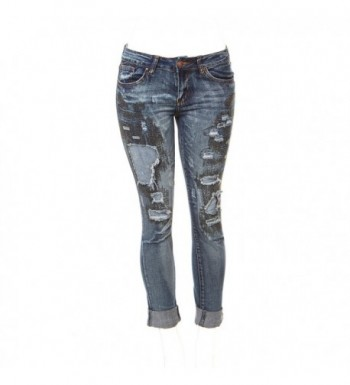 36b211d1c8b Ripped Distressed Patched Skinny Stretch Jeans For Women Bottom Cuff ...