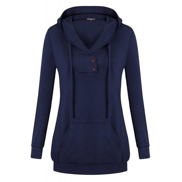b99eba59b62 ... Women Tunic Hoodies Long Sleeves Kangaroo Pocket Crewneck Dressy Shirts  - Blue - CK187TMUWQL. Miagooo Sweatshirts Buttons Pullover Sweatshirt