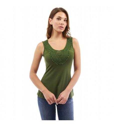 PattyBoutik Womens Crochet Inset Olive