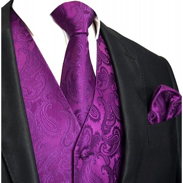 Mens Paisley Vest Chest Purple