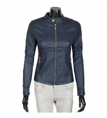 Womens Round Collar Motorcycle Jacket