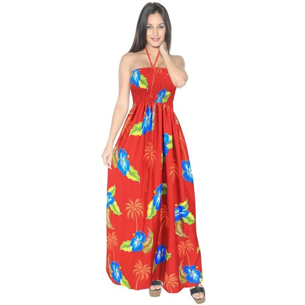 0dc40fe96b ... Halter Evening Party Swimsuit Tube Dress Maxi Skirt Beach Backless  Sundress Boho - Palm Tree Red - CU12JOFG37H. Leela Womens Hibiscus Coconut  Hawaiian