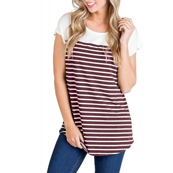 68b5e52165f ... Women Short Sleeve Triple Color Block Striped T-Shirt Casual Blouse Tops  - Wine Red - CG180IY6MSS. Halife Womens Summer Printed Juniors