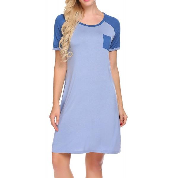 dce17a6423 Women s Nightgown Modal Sleep Dress Short Sleeve Nightshirt ...