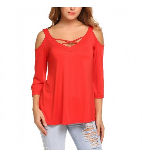 womens Casual Shoulder Sleeve Blouse