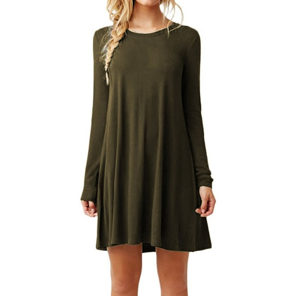 22a76fb83c88 Women's Long Sleeves Round Neck Solid Loose Casual T-Shirt Dress XS ...