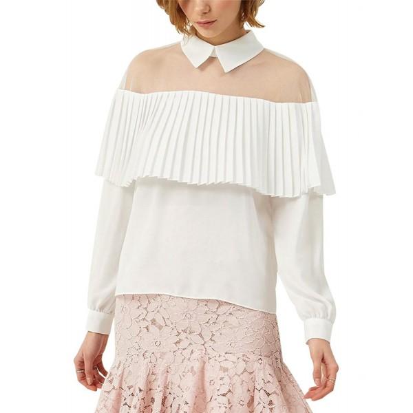 053b57b8dfe896 ... Sheer Mesh Ruffle Chiffon Blouse Women Long Sleeve Shirt Tops - White -  CQ182W0ECAE. Sweetylove Chiffon Blouse Tassel Shirts