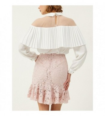 b45f0712d6f497 Sheer Mesh Ruffle Chiffon Blouse Women Long Sleeve Shirt Tops ...