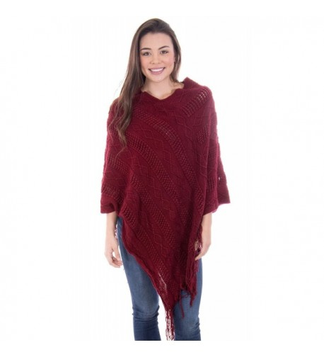Simplicity Ponchos Knitted Pullover Burgundy