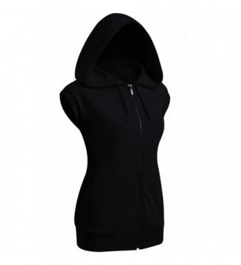 aef5bbf17cfeb Women s Sleeveless Hoodies Basic Hoodie Zip Up - Kwohosl01 black ...